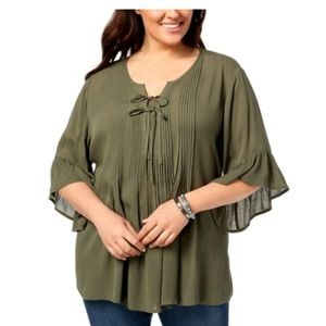 Style & Co. Pintucked Ruffled Peasant Top